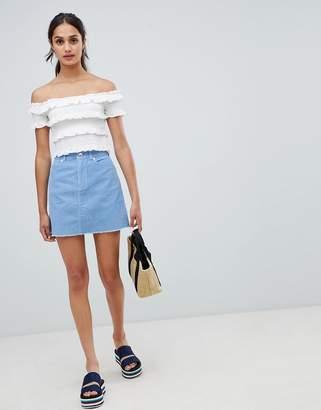 Miss Selfridge cord a-line mini skirt in blue