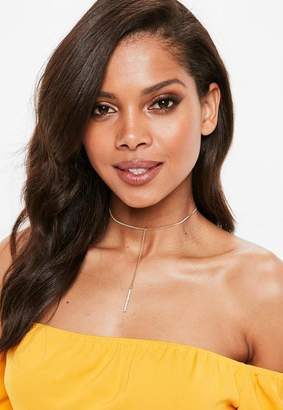 Missguided Gold Look Diamante Drop Necklace