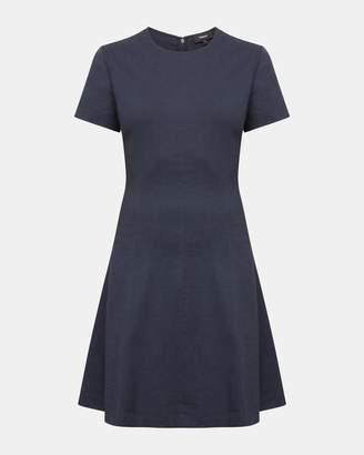 Theory Organic Crunch Linen Modern Seamed Shift Dress