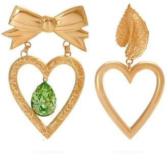 Rodarte Gold Plated Dangle Heart Earrings - Womens - Gold