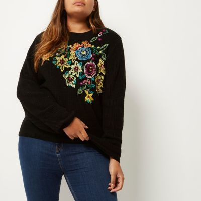 River Island River Island Womens Plus black knit floral embroidered sweater
