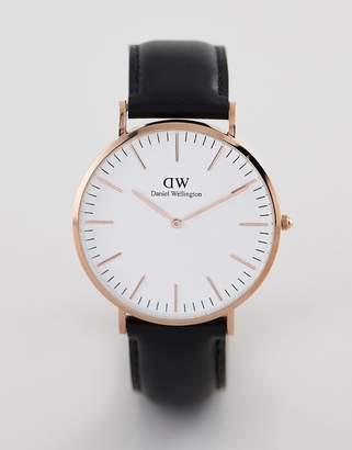 Daniel Wellington Classic Sheffield Leather Watch in Rose Gold 40mm