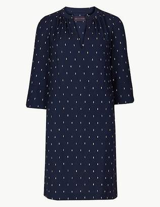 Marks and Spencer PETITE Printed 3/4 Sleeve Shift Dress