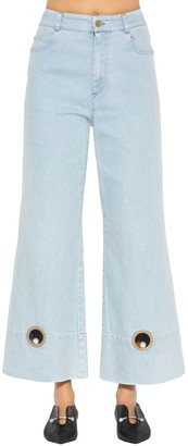 Coliac Wide Leg Cotton Denim Jeans W/ Cutouts