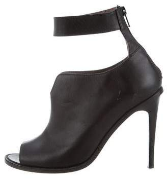 Tibi Leather Peep-Toe Ankle Boots