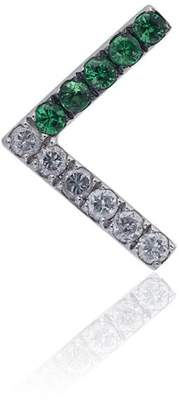 Leon Yvonne White gold V shaped earring with tsavorite and grey diamonds