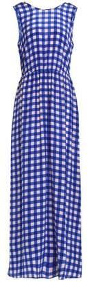 Diane von Furstenberg Gingham Silk Crepe De Chine Maxi Dress