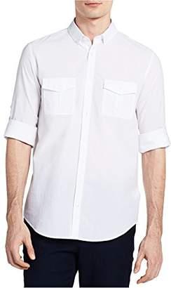 Calvin Klein Men's Long Sleeve Fine Seersucker Voile Roll-Tab Button Down Shirt