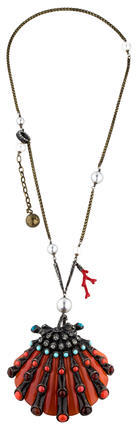 Lanvin Lanvin Embellished Shell Pendant Necklace