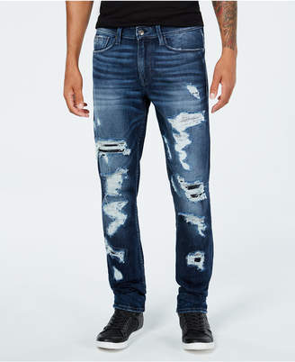 GUESS Men's Slim-Tapered Fit Stretch Destroyed Jeans