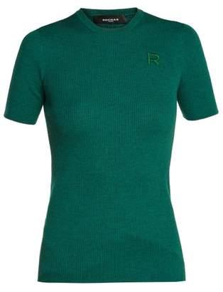 Rochas Logo Applique Ribbed Wool Sweater - Womens - Dark Green