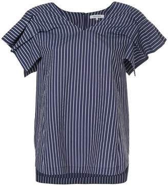 GUILD PRIME pleated-sleeve striped blouse