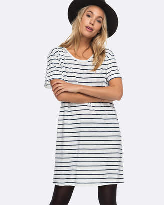 Roxy Womens Just Simple Stripe T Shirt Dress