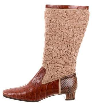 Dolce & Gabbana Alligator Snakeskin-Trimmed Boots