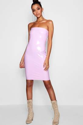 boohoo Tall Isabel Vinyl Bandeau Mini Dress