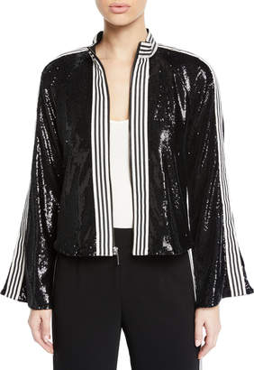 Nanette Lepore Le Freak Long-Sleeve Sequin Jacket w/ Striped-Trim