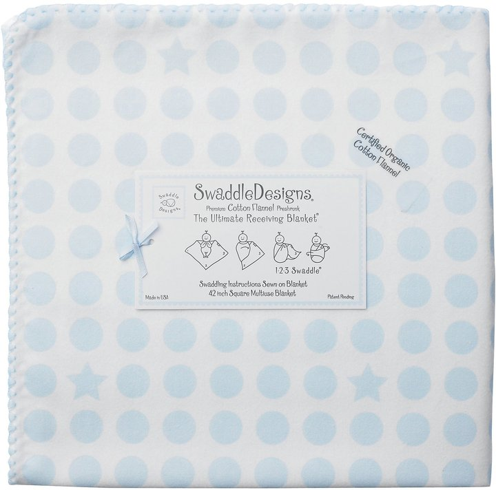 Swaddle Designs Organic Ultimate Receiving Blanket - Pastel and Stars - Blue Dots