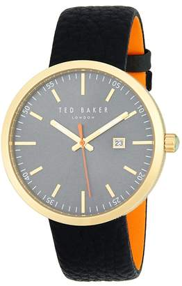 Ted Baker Men's Stainless Steel and Leather Strap Watch