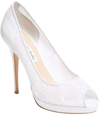 Monique Lhuillier Belle Lace Peep-Toe Pump