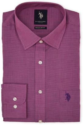 U.S. Polo Assn. Purple Grid Regular Fit Dress Shirt