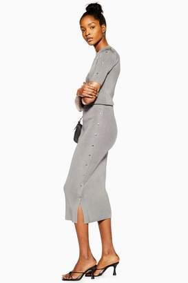 Topshop Womens Popper Side Skirt - Silver