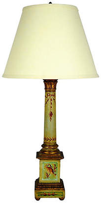 One Kings Lane Vintage French Painted Wood Table Lamp - Acquisitions Gallerie