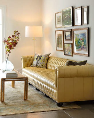 """Old Hickory Tannery Zerenity 131.5""""L Chesterfield Leather Sofa"""