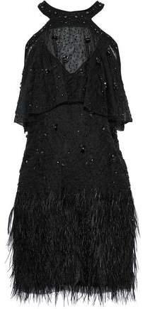 Tristana Cold-Shoulder Embellished Silk Mini Dress