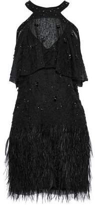 Elie Tahari Tristana Cold-shoulder Embellished Silk Mini Dress
