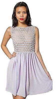 American Apparel RSACF300DL Sleeveless Lace Chiffon Dress
