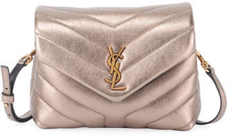 Saint Laurent Loulou Monogram Toy V-Flap Metallic Wallet on Chain