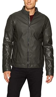 X-Ray Men's Slim Fit Moto Faux Leather Tonal Biker Jacket
