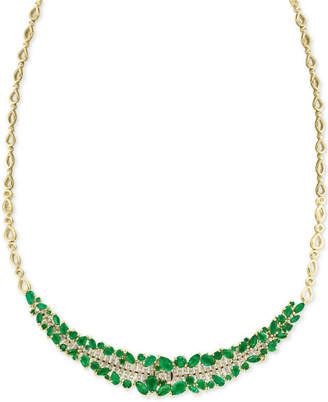 "Effy Emerald (8-3/4 ct. t.w.) & Diamond (5/8 ct. t.w.) 18"" Collar Necklace in 14k Gold"