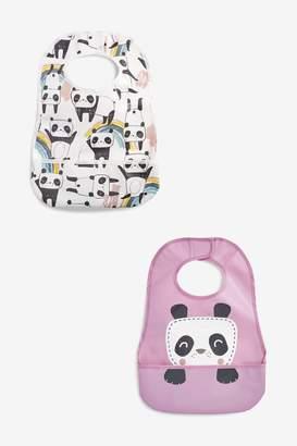 Next Girls Purple/White 2 Pack Panda Character Crumb Catcher Bibs - Purple