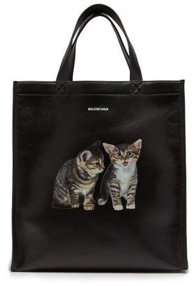 Balenciaga Kitten Print Leather Tote - Womens - Black Multi