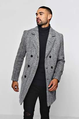 boohoo Wool Blend Herringbone Double Breasted Overcoat