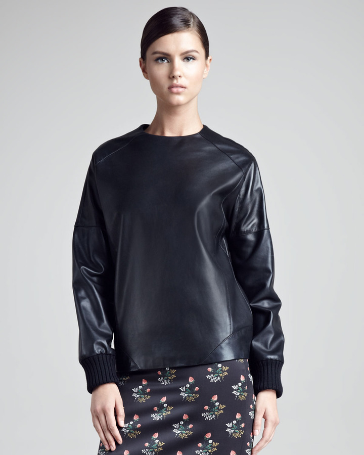 Derek Lam Leather Sweatshirt
