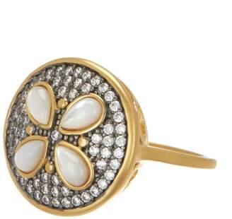 Freida Rothman 14K Gold & Rhodium Plated Sterling Silver CZ Fleur Bloom Petite Petal Ring - Size 6