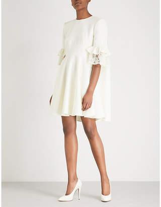 Alexander McQueen Lace-trimmed wool-blend mini dress