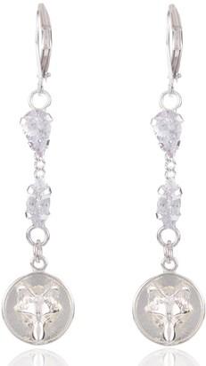 Alexa K Silver Crystallised Wolf Earrings