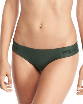 Pilyq Tab Stitch-Detail Swim Bikini Bottom, Envy