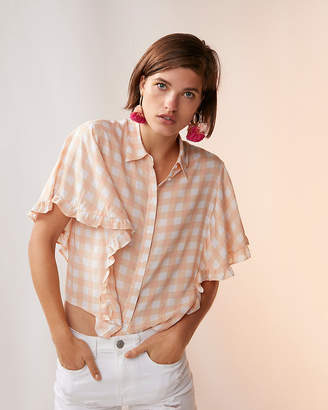 Express Gingham Ruffle Short Sleeve Top