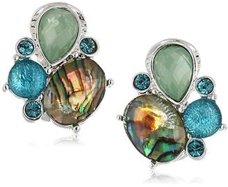 Anne Klein Women's And Blue Multi Stone Cluster Clip On Earrings