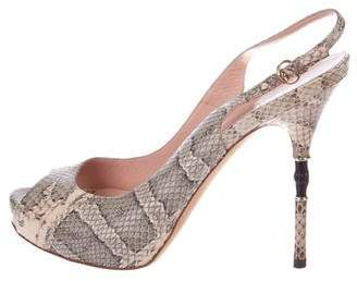 Gucci Embossed Leather Pumps