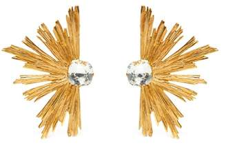 Saint Laurent Burst Crystal Centre Clip Earrings - Womens - Gold