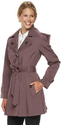 London Fog Tower By London Fig Women's TOWER by Hooded Double Lapel Raincoat