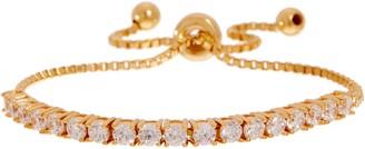 Diamonique Round Adjustable Bracelet, Sterling Silver