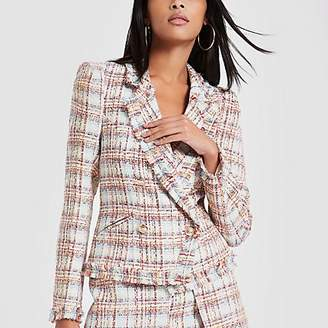 River Island Light pink check print boucle jacket