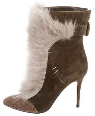 Alexa Wagner Suede and Shearling Ankle Boots