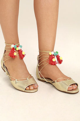 Betsey Johnson Abree Gold Lace-Up Pompom Sandals $69 thestylecure.com